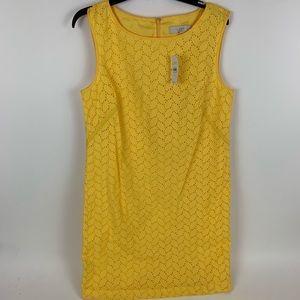 Loft Solid Yellow eyelet Dress Size 10 NWT